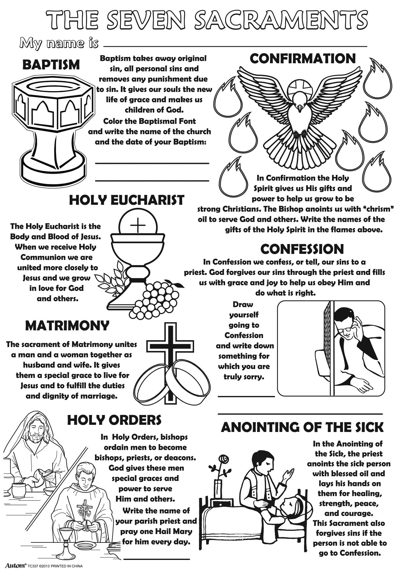 Catholic Sacraments Coloring Pages Color Bros