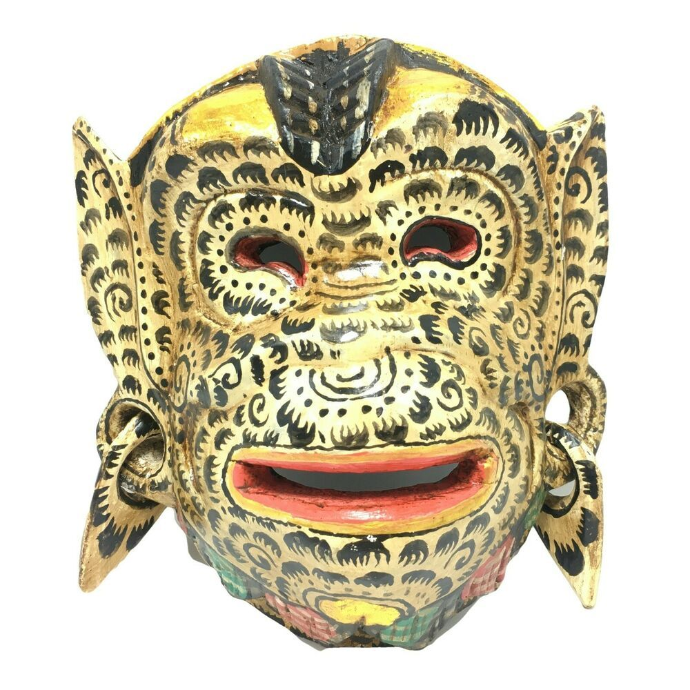 Balinese Hand Carved Wooden Mask Barong Monkey Indonesia Wall Hanging Folk Art