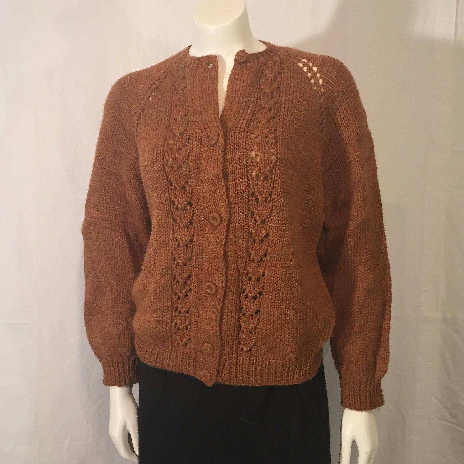 Vintage Autumn Ombre Hand knit Cardigan Sweater Brown Gold Orange ...