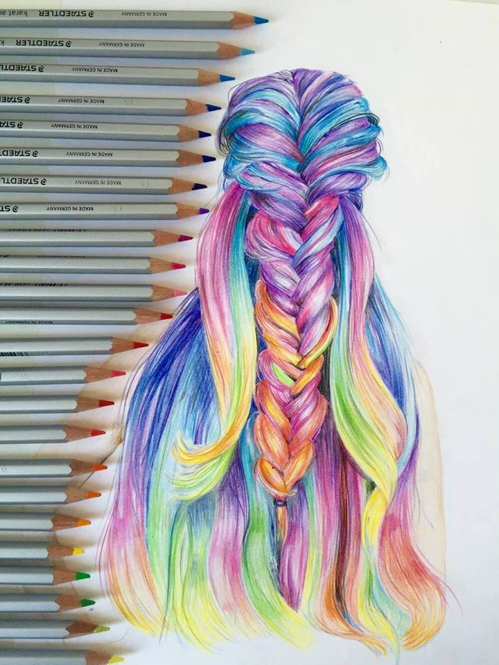rainbow hair love artwork