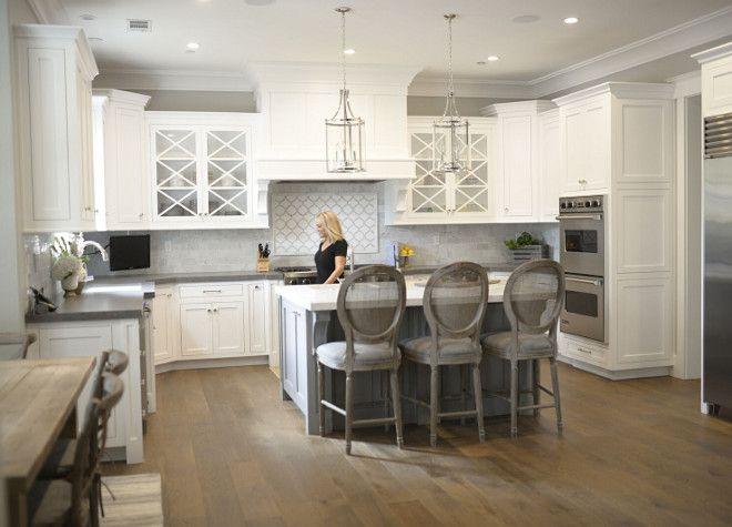 White Kitchen With White Oak Floor White Kitchen With Grey Island