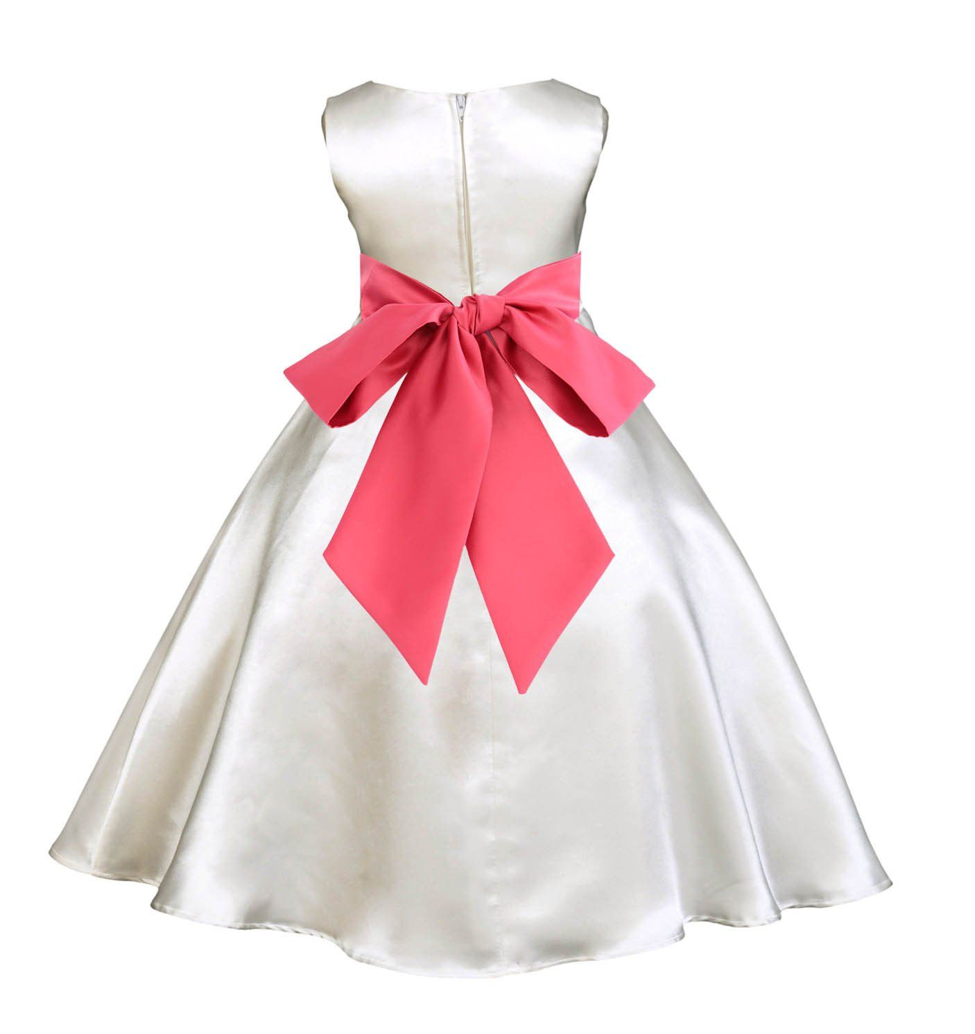 Ivory aline satin flower girl dress wedding pageant first communion