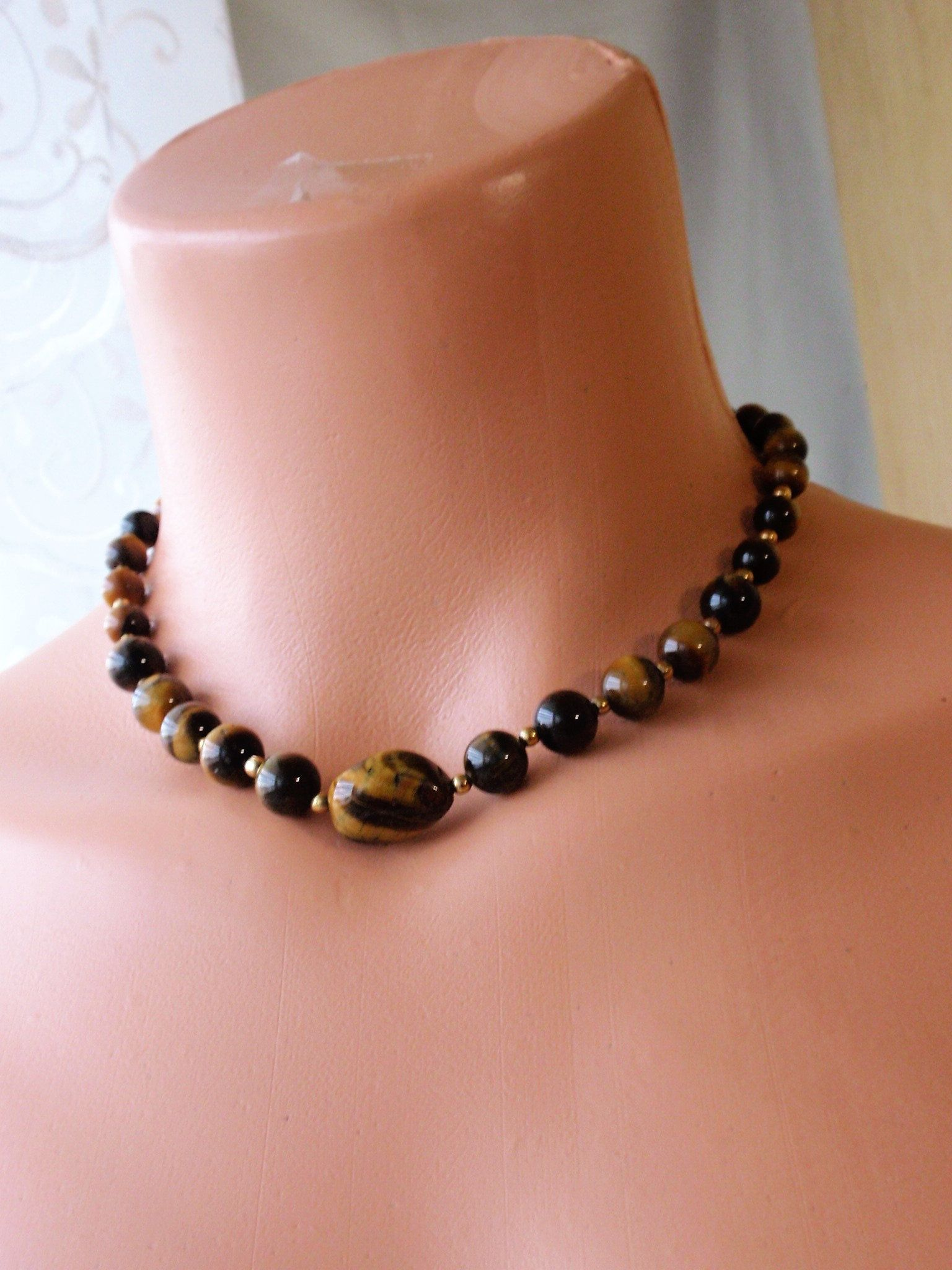 Tiger Eye Choker, Necklace earring set. Semi precious