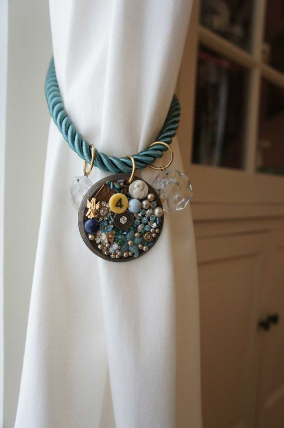 Ocean Blue Jewelry Cameos And Rhinestones Combine To Make A One Of A Kind Curtain Tie Back It