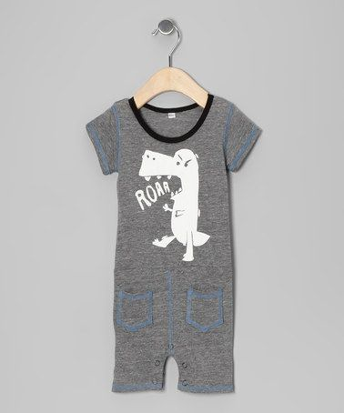 Take a look at this Gray Dino 'Roar' Romper - Infant & Toddler by Ottomatic on #zulily today!