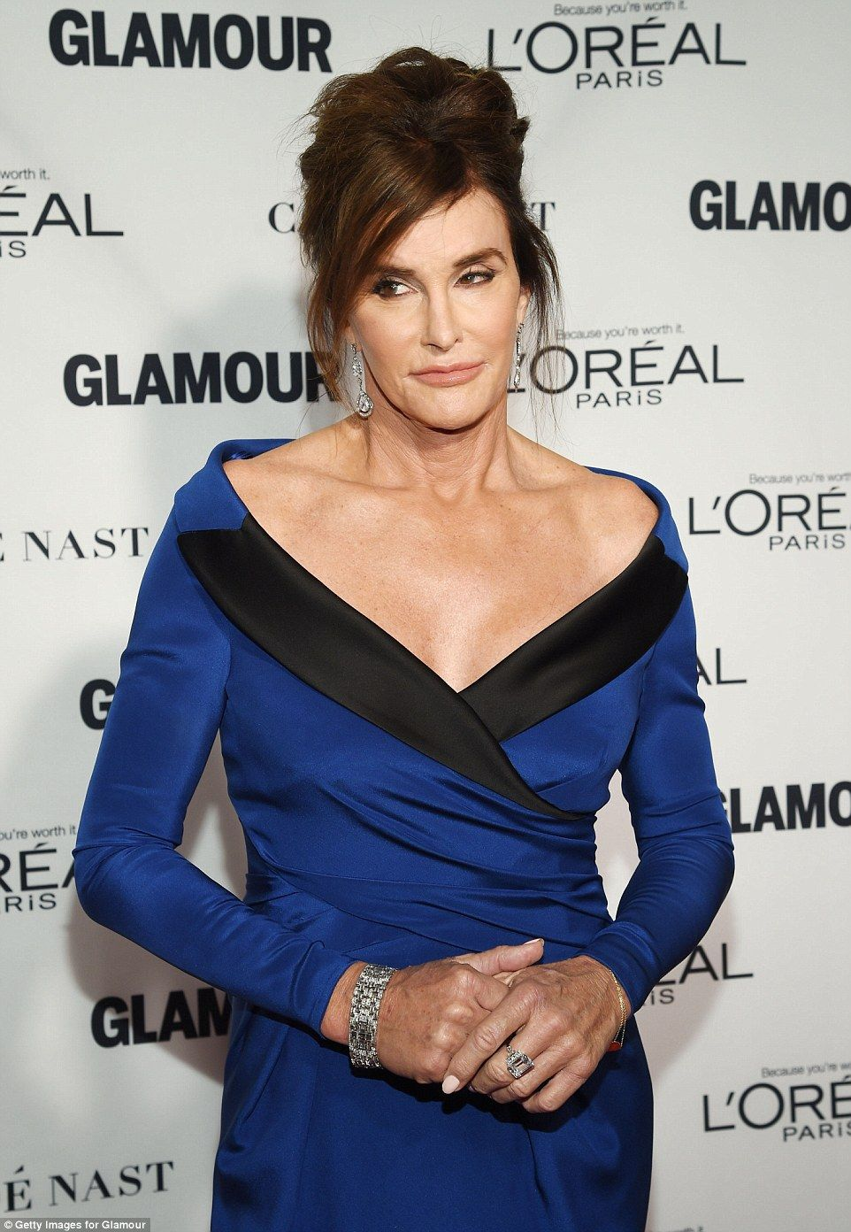 Showstopping: The sapphire blue dress was an impressive choice...