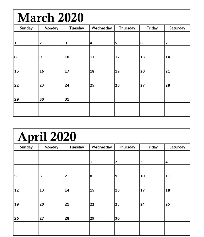 March April 2020 Calendar Management Sheet
