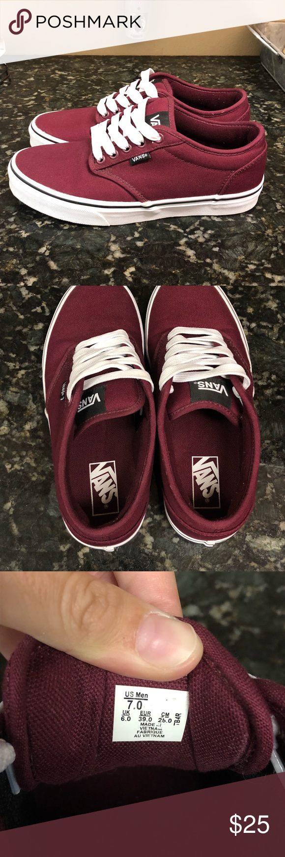782db19fc5 Vans off the wall shoes These are maroon burgundy MENS size 7 shoes ...