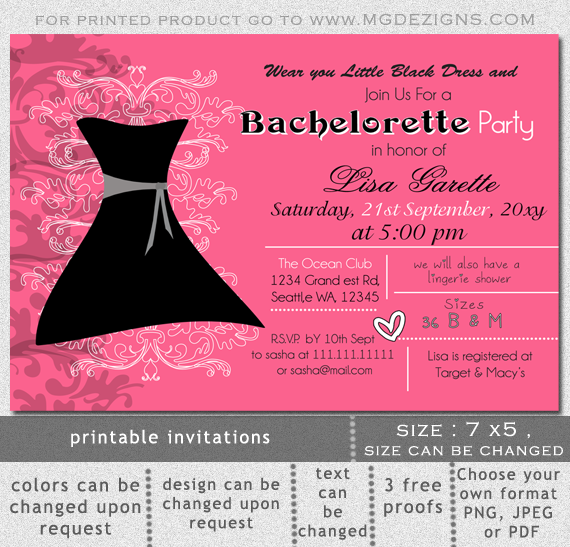 Printable Little Black Dress Bachelorette Party Invitation