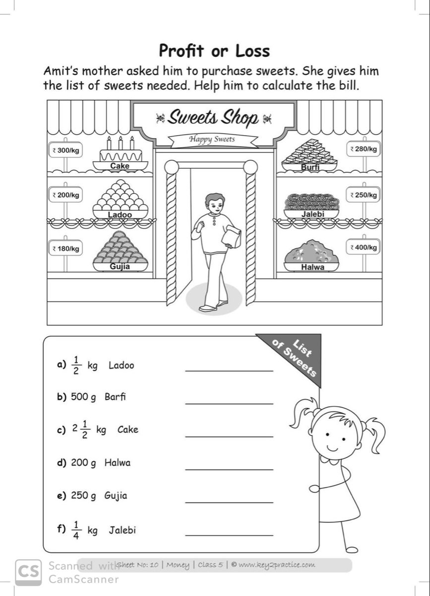 Class 5 Maths Worksheets I Chapter Money key2practice