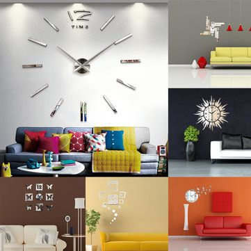Big Large DIY Frameless Wall Clock Kit 3D Mirror Decoration Silver