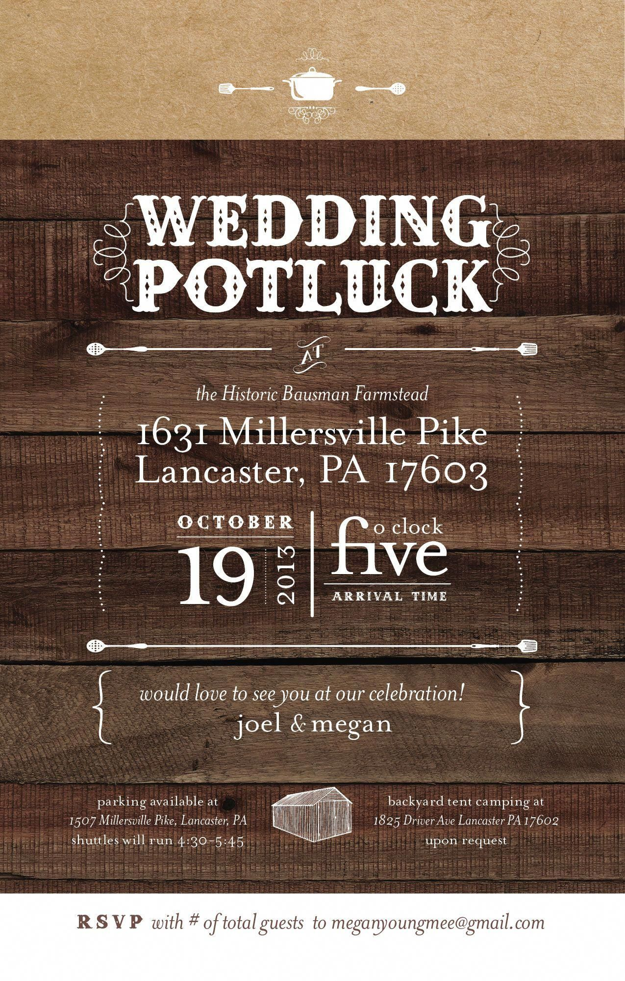 Potluck wedding? Yes! Love this invitation idea and style ...