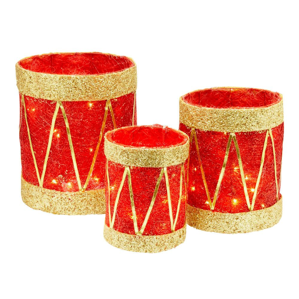 Christmas Drum Decor.Lighted Drums Christmas Decoration Red Set 3 Piece Pre Lit