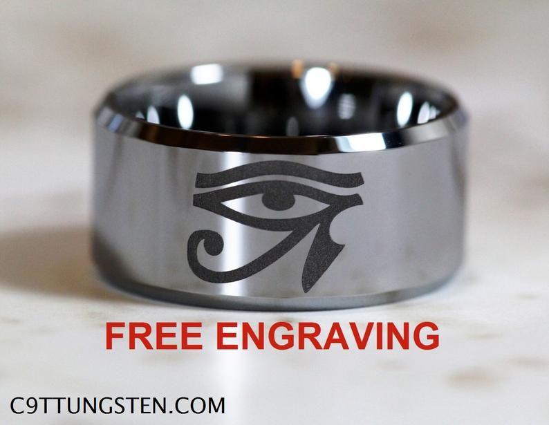 12mm High Polish Beveled Eye of Horus Ring Design Free Engraving Top Quality Tungsten Carbide Band 12MM