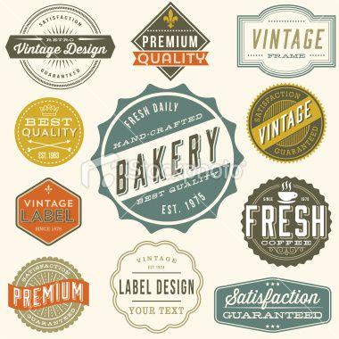 Set Of Colorful Vintage Labels And Design Elements Each Design Is Vintage Labels Label Design Vintage Colour Palette