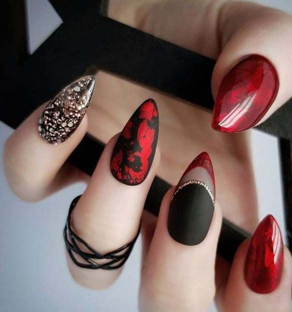 14 Amazing Nail Art Designs Inspired From Red And Black Red Black