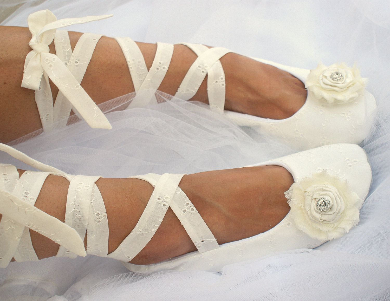 Ivory Flats Wedding Ballet Ballerina Slippers Shoes Flower Girl Bridal Cream Crystals Elegant Vintage Style