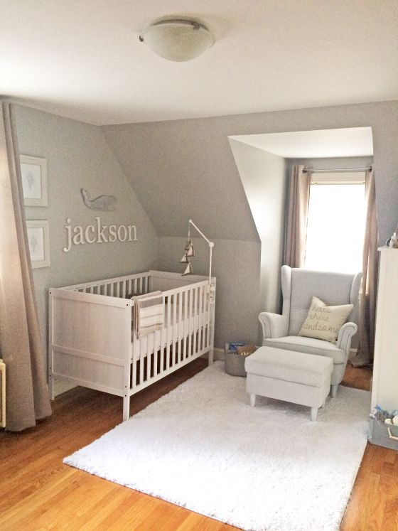jackson s nursery white shag rug white stain and hemnes. Black Bedroom Furniture Sets. Home Design Ideas