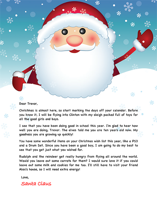 Santa letter example personalized letters from santa.
