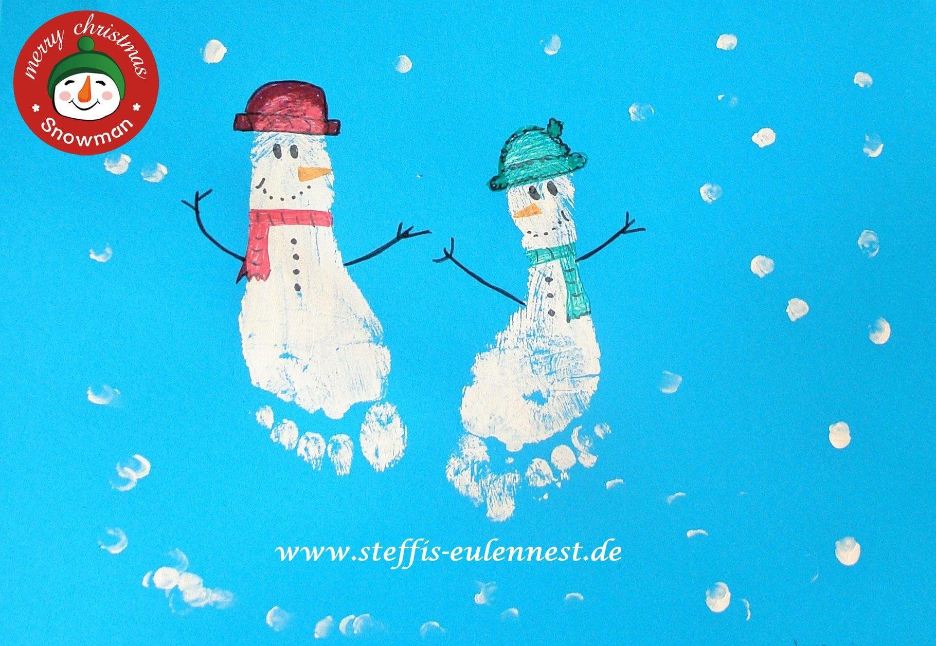 basteln f r kinder basteln mit kindern schneemann fu abdr cke schneeflocken snowman kids. Black Bedroom Furniture Sets. Home Design Ideas