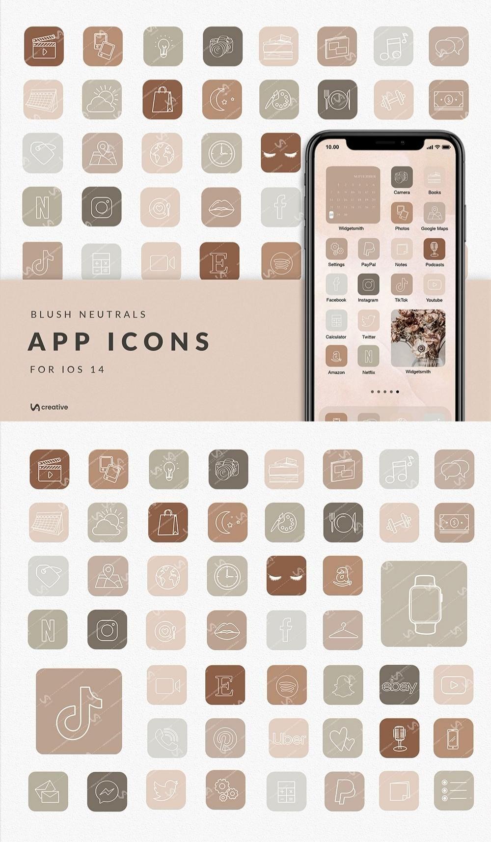 Neutral AESTHETIC | 50 iPhone iOS 14 APP ICONS | W