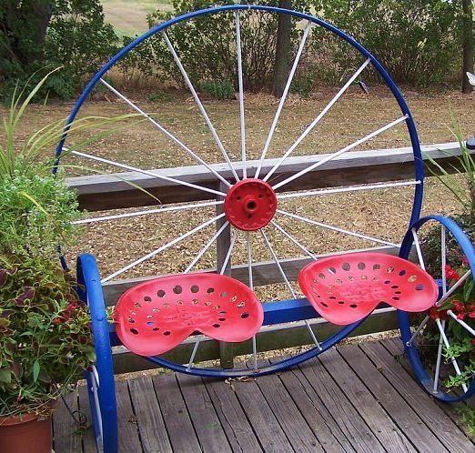 Steel Wagon Wheel Bench