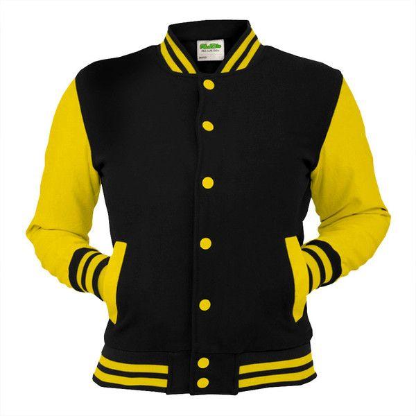 Black Varsity Jacket With Yellow Sleeves College Letterman Coat Baseball Top American Fashion Clothing U Varsity Jacket Green Varsity Jacket Varsity Jacket Men