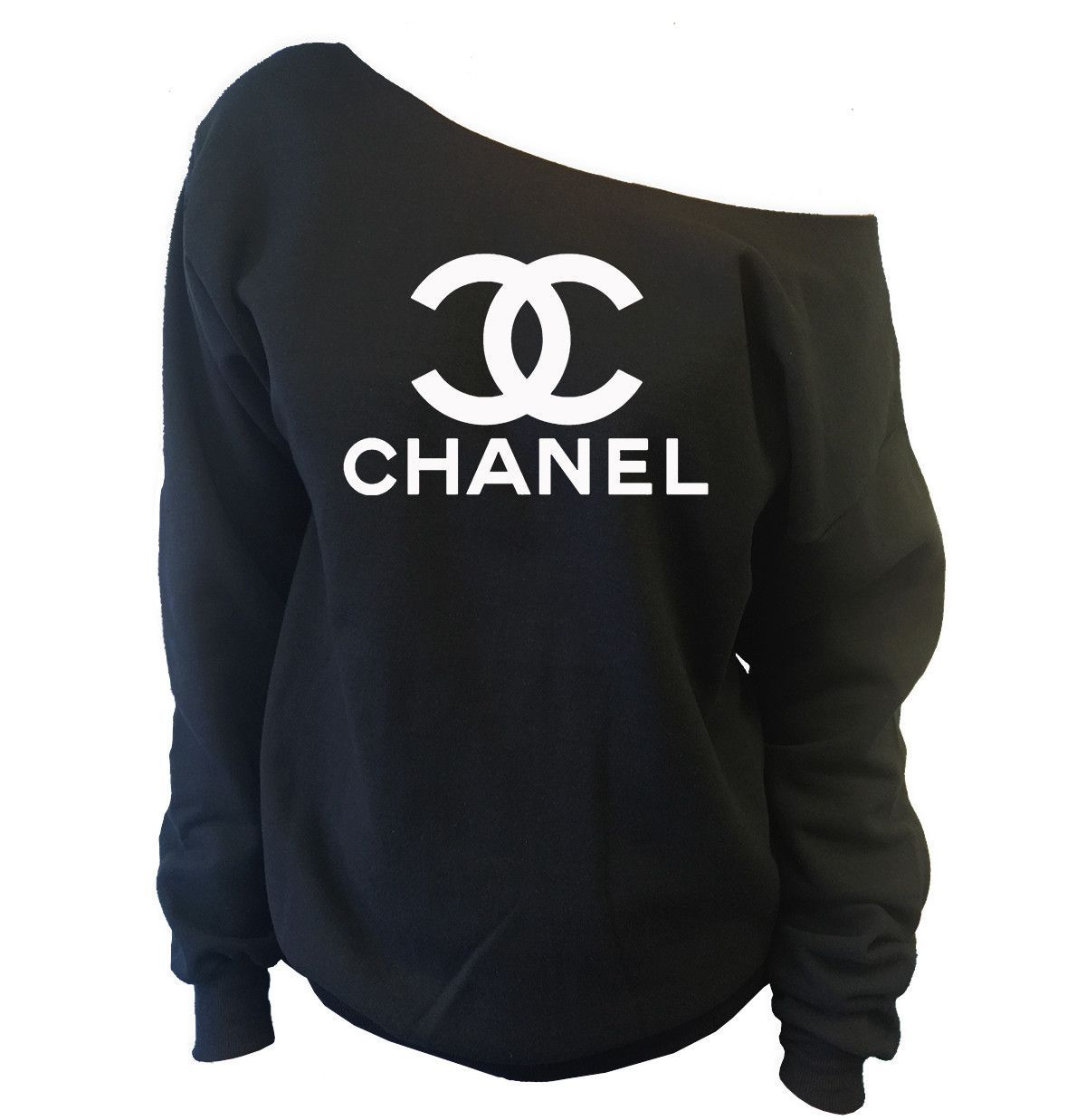 chanel off the shoulder wide neck slouchy sweatshirt chanel pinterest. Black Bedroom Furniture Sets. Home Design Ideas