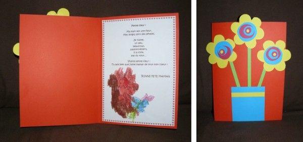 Carte bouquet de fleurs pour la fête des mamans