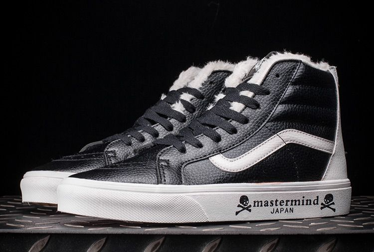 9c2d635e28 Mastermind Japan x Vans SK8-Hi Back Zip Fur Leather Skate Shoes Black White   Vans