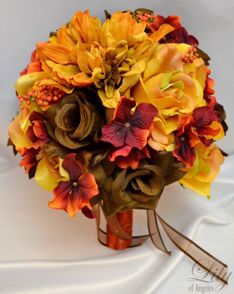 17pcs Wedding Bridal Bouquet Set Decoration Silk Flower FALL MUSTARD BROWN