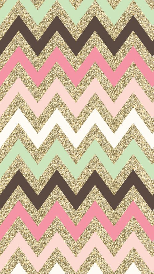 Pretty Girly Phone Wallpaper Gold Glitter Chevron With Pink White Mint Green And Brown Lines Also For Iphone