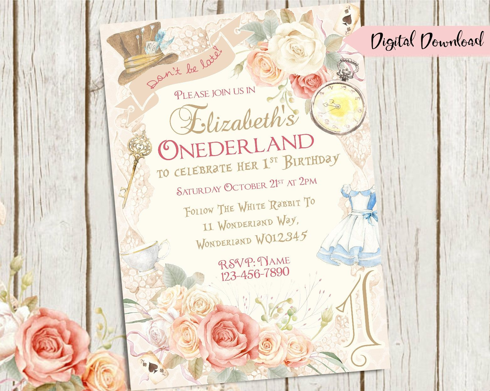 Alice in onederland invitation wonderland invitation 1st birthday alice in onederland invitation wonderland invitation 1st birthday invitation printable invite alice party invite 1st girls floral what you will filmwisefo