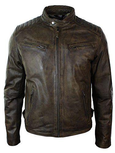 Marrón Oscuro · Estilo Retro · Chaqueta · Aviatrix Mens Slim Fit Retro  Style Zipped Biker Jacket Real Washed Leather Brown Urban brown s 1ce2d56ca5e4