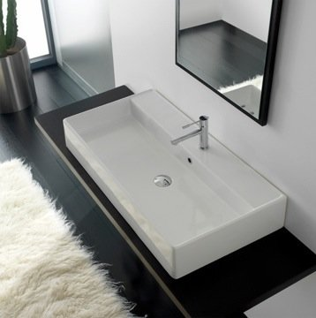 Teorema Rectangular Vessel Bathroom Sink with Overflow Sinks