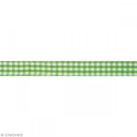 Fabric tape thermofixable - carreaux verts mai - 15 mm x 5 m - Masking tape tissu - Creavea #fabrictape