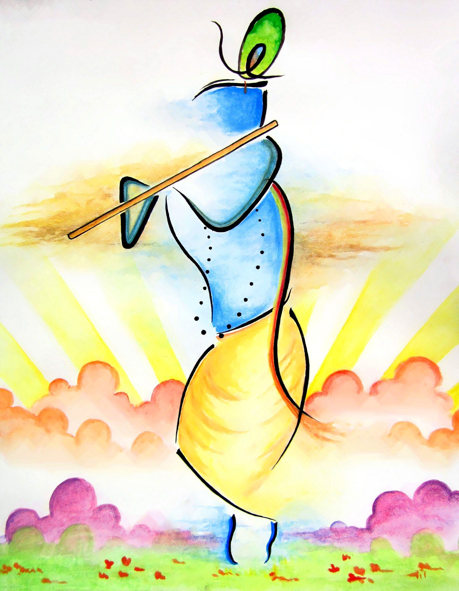 I Recently Created An Abstract Lord Krishna Painting In Watercolor With The