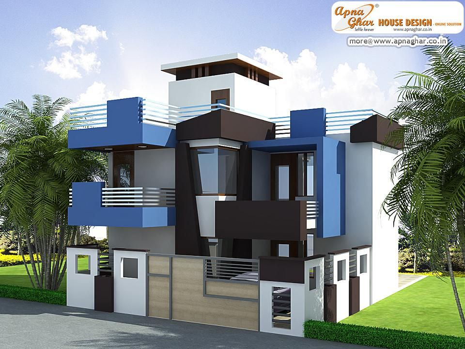Modern Front Elevation Plan : Modern duplex house exterior elevation in m