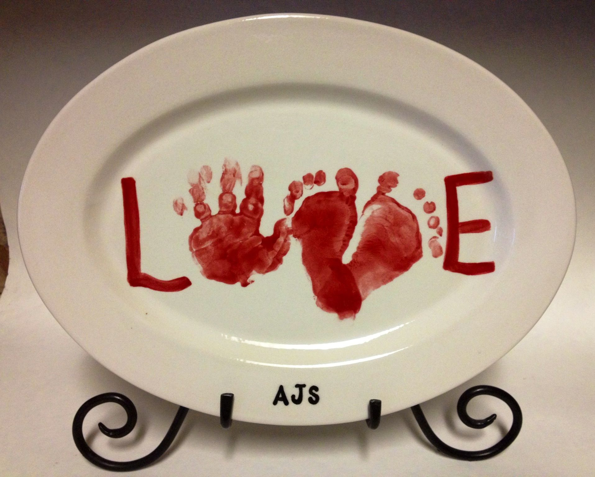 Love Sweet Baby Footprints And Handprint Ceramic Hand