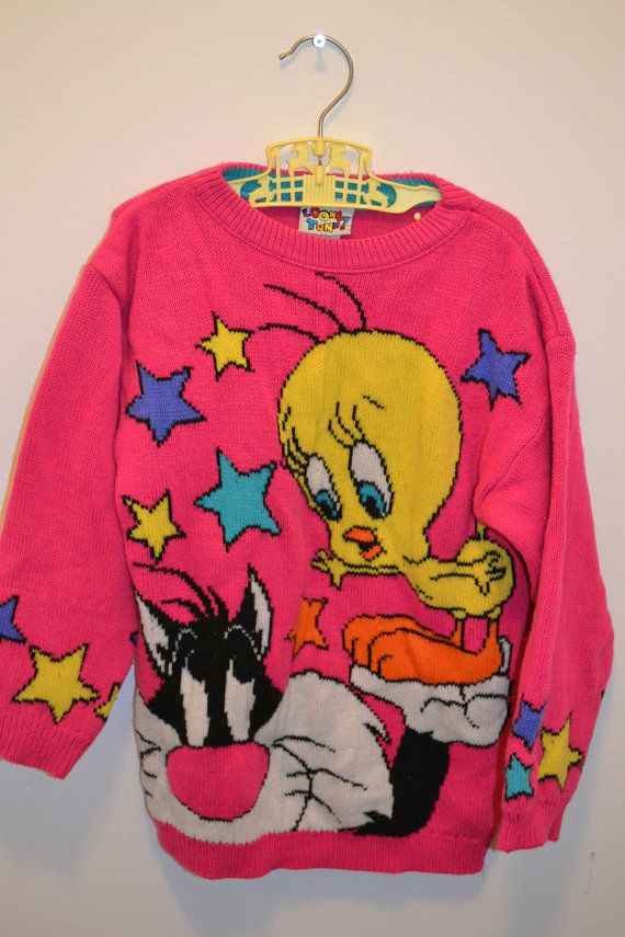 Vintage 90s Looney Tunes Sweatshirt // Sylvester Tweety // Red // Cartoon BqAVL