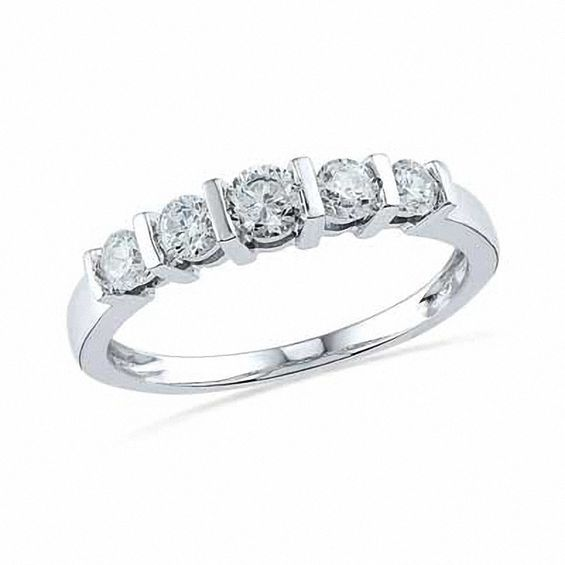 Lab Created White Sapphire Five Stone Anniversary Band In 10k White Gold Zales Anniversary Bands Silver Wedding Bands White Gold