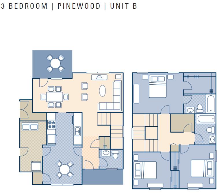 Ncbc gulfport pinewood neighborhood 3 bedroom type b for 3 bedroom townhouse plans