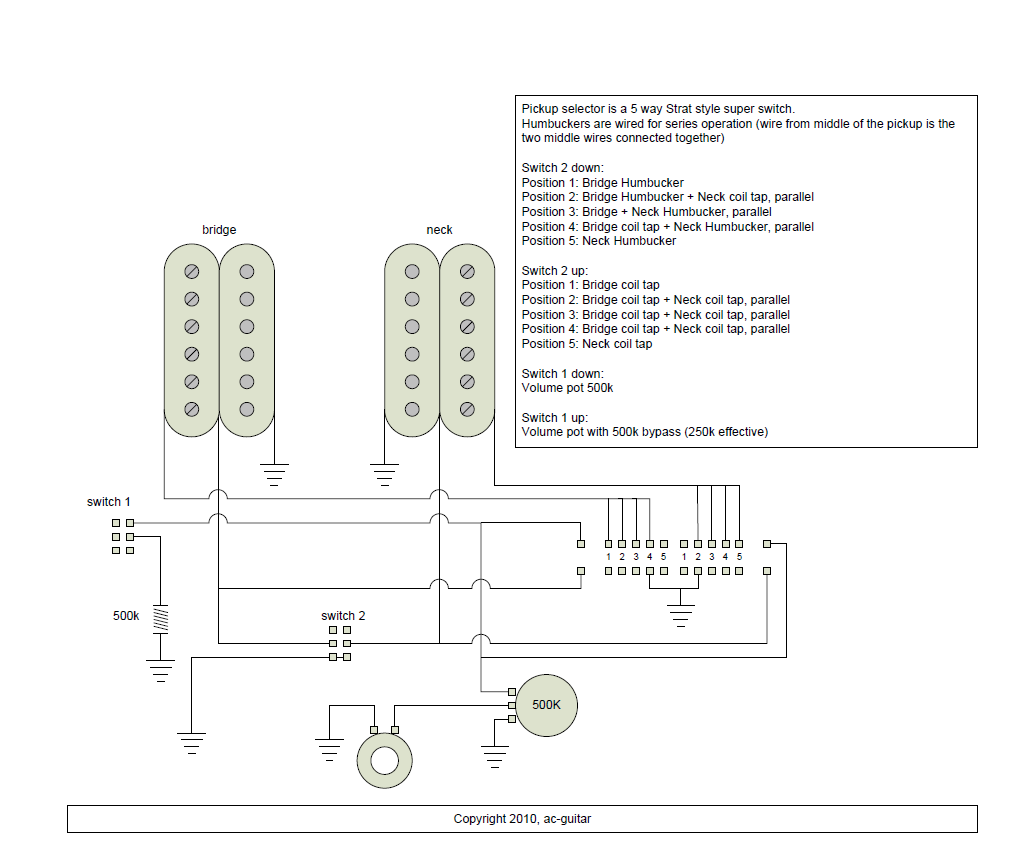 5-way super switch schematic - Google Search Guitar Building, Electric  Guitars, Diagram