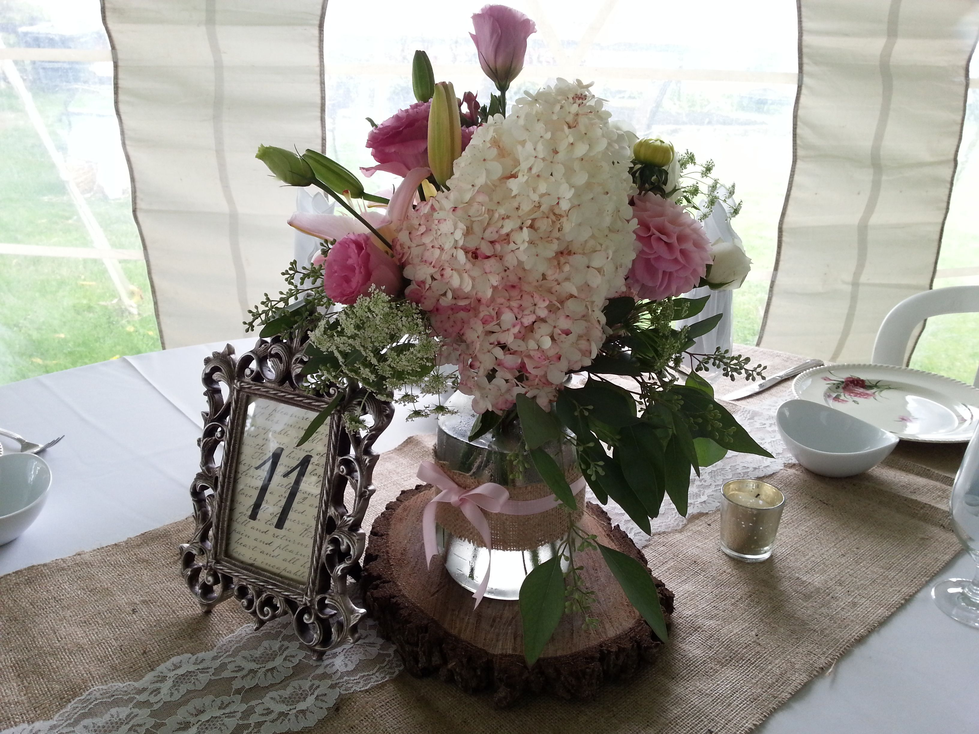 Country chic wedding centerpiece pink in large mason jar country