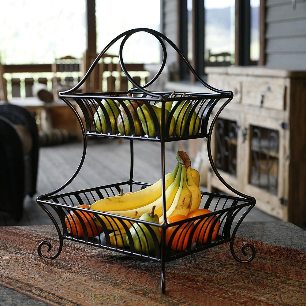 2 Tier Wrought Iron Wire Basket Storage Fruit Rack Holder Kitchen Bath Organizer Delaware