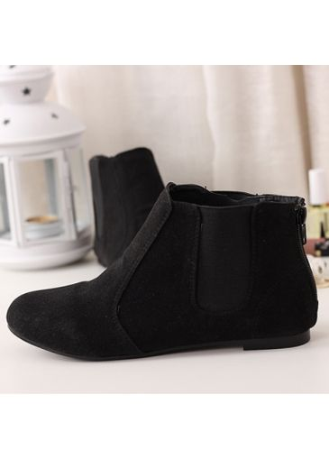 Amazing English Style Suede Flat Bottom Black Ankle Shoots on sale only US$14.36 now, buy cheap Amazing English Style Suede Flat Bottom Black Ankle Shoots at martofchina.com