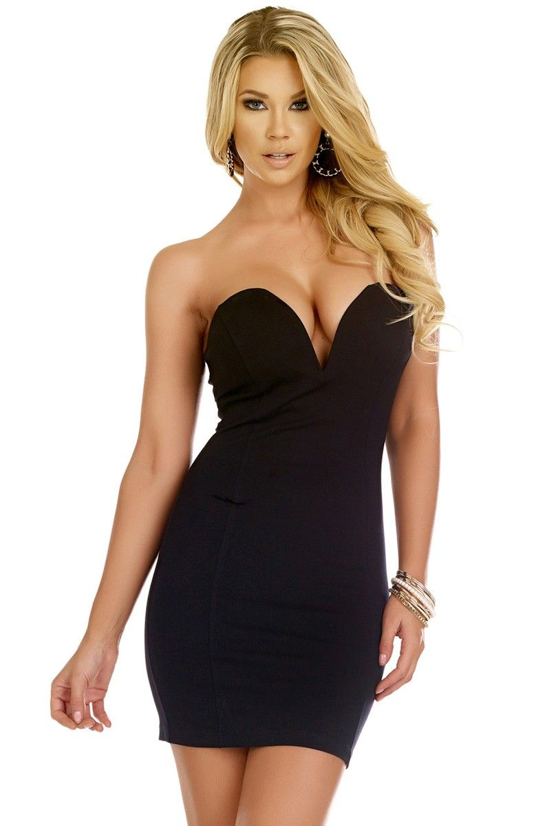 Forplay Black Strapless Sweetheart Mini Club Dress Little Black Dress Black Dress Mini Dress [ 1200 x 811 Pixel ]