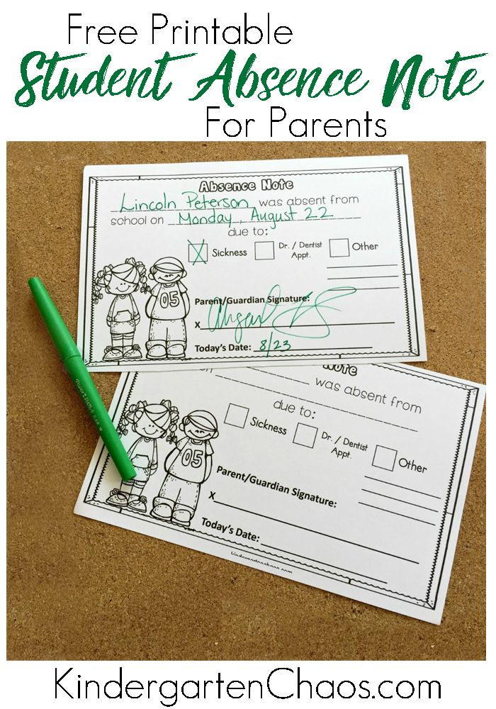 Free Printable Absence Excuse Note For Students  Parents  Saln