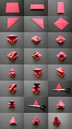 DIY idée comment faire un origami en papier rouge