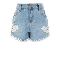 Teens Blue Lace Trim Denim Shorts | New Look